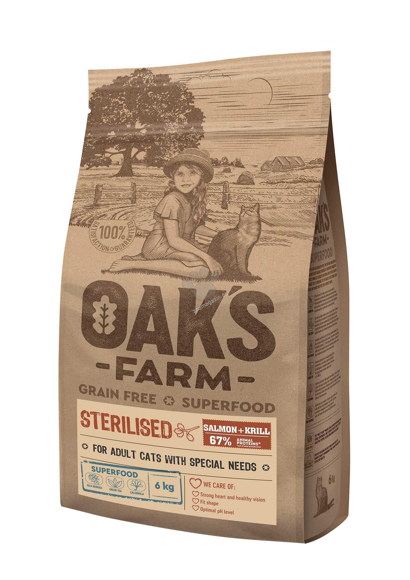 Oaks Farm Grain Free Salmon with Krill Sterilized Adult Cat - пълноценна храна без зърнени култури със сьомга и крил за кастрирани котки над 1 година 18 кг.