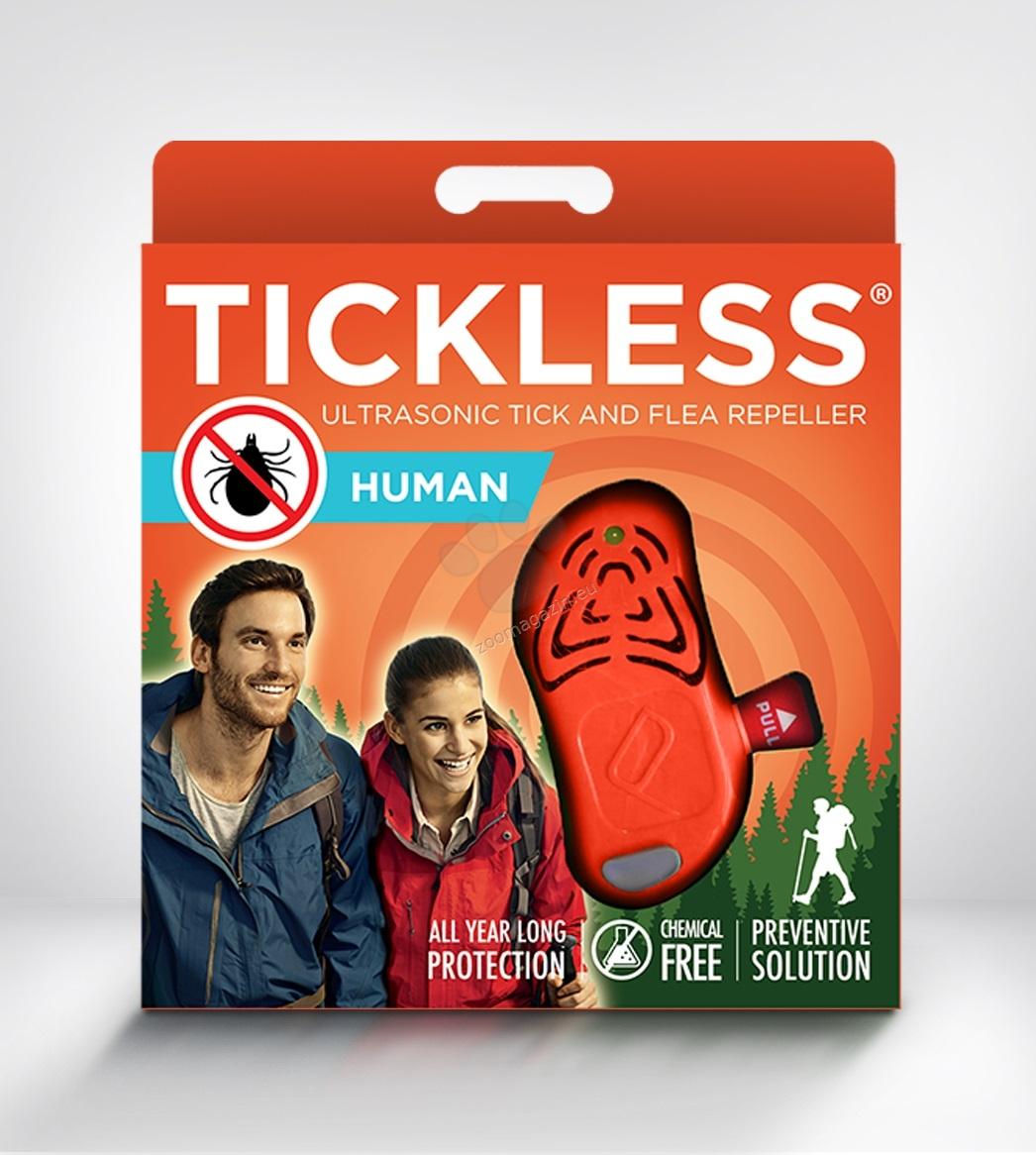 TickLess Ultrasonic Human - електронен уред за предпазаване от кърлежи за деца над 3-годишна възраст и възрастни / зелен, оранжев /