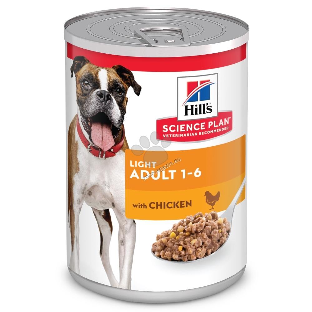 Hills - Science Plan Canine Adult Light консерва – пълноценна храна за възрастни кучета от всички породи над 1 година, склонни към наднормено тегло 370 гр.