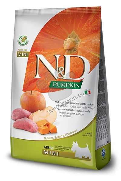 N&D Pumpkin Boar & Apple Mini Adult - пълноценна храна с тиква за кучета в зряла възраст над една година, от дребните породи с месо от глиган и ябълка 800 гр.