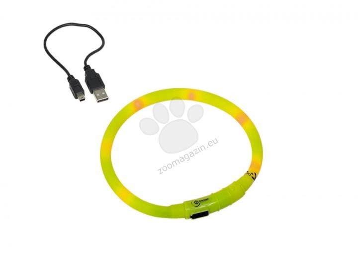 Nobby Lightning Dog collar Visible - жълт силиконов светещ нашийник, зареждане с USB 10 mm. / 70 см.