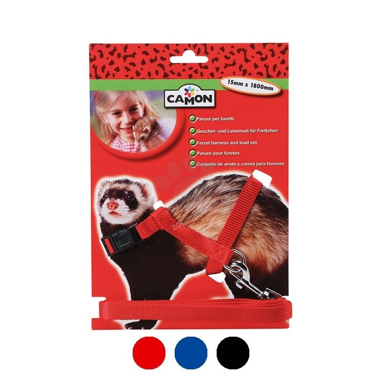 Camon Ferret - повод с нагръдник / червен, син, черен /  15 мм. / 1800 мм.
