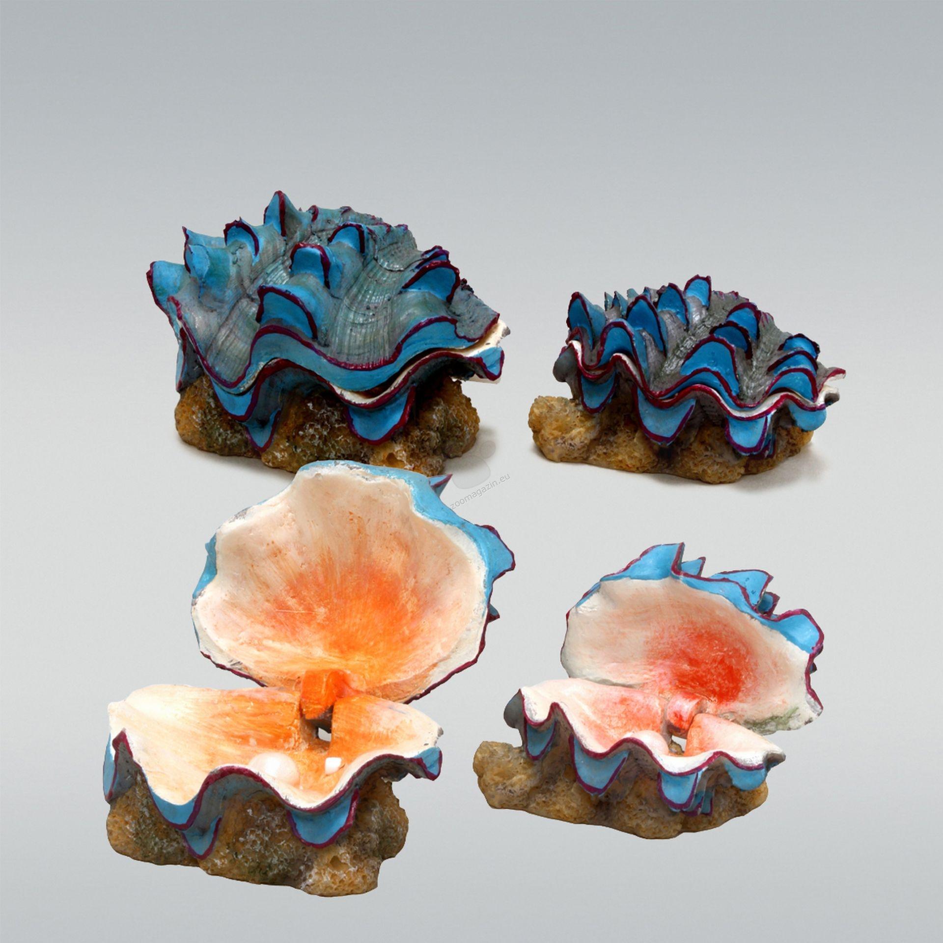 JBL ActionAir Beautiful Shells - декорация за аквариум с възможност за включване на помпичка за кислород, две отделни миди с перли 10 / 9 / 7 см., 8 / 6 / 6 см
