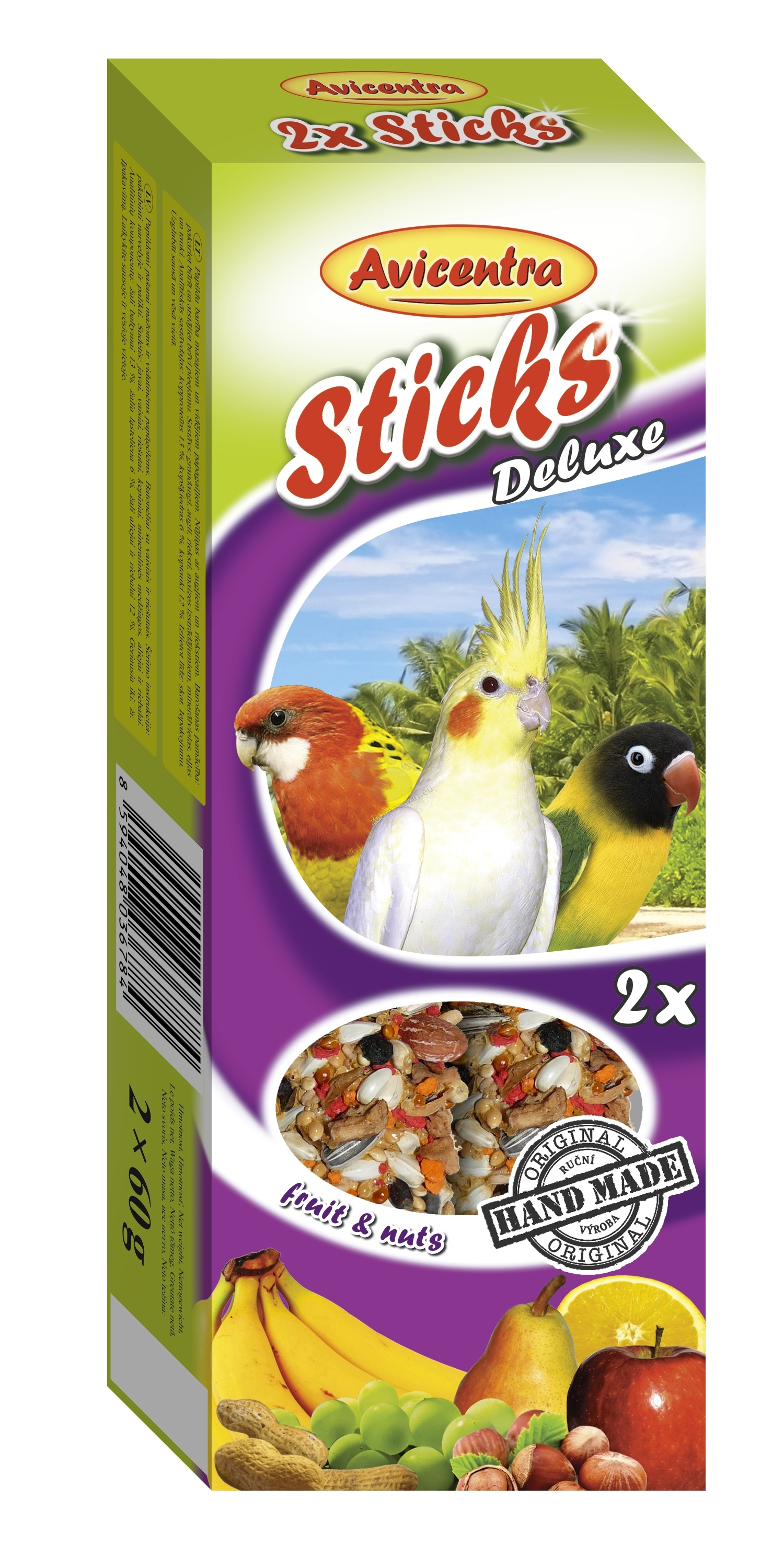 Avicentra Sticks deluxe with fruit & nuts for big parakeets - крекер с ядки и плодове 2 броя, 120 гр.