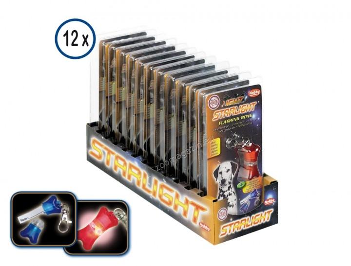 Nobby Flashing Bone - светещ адресник флашер / червен, син / 4 / 2 см. 1 бр.