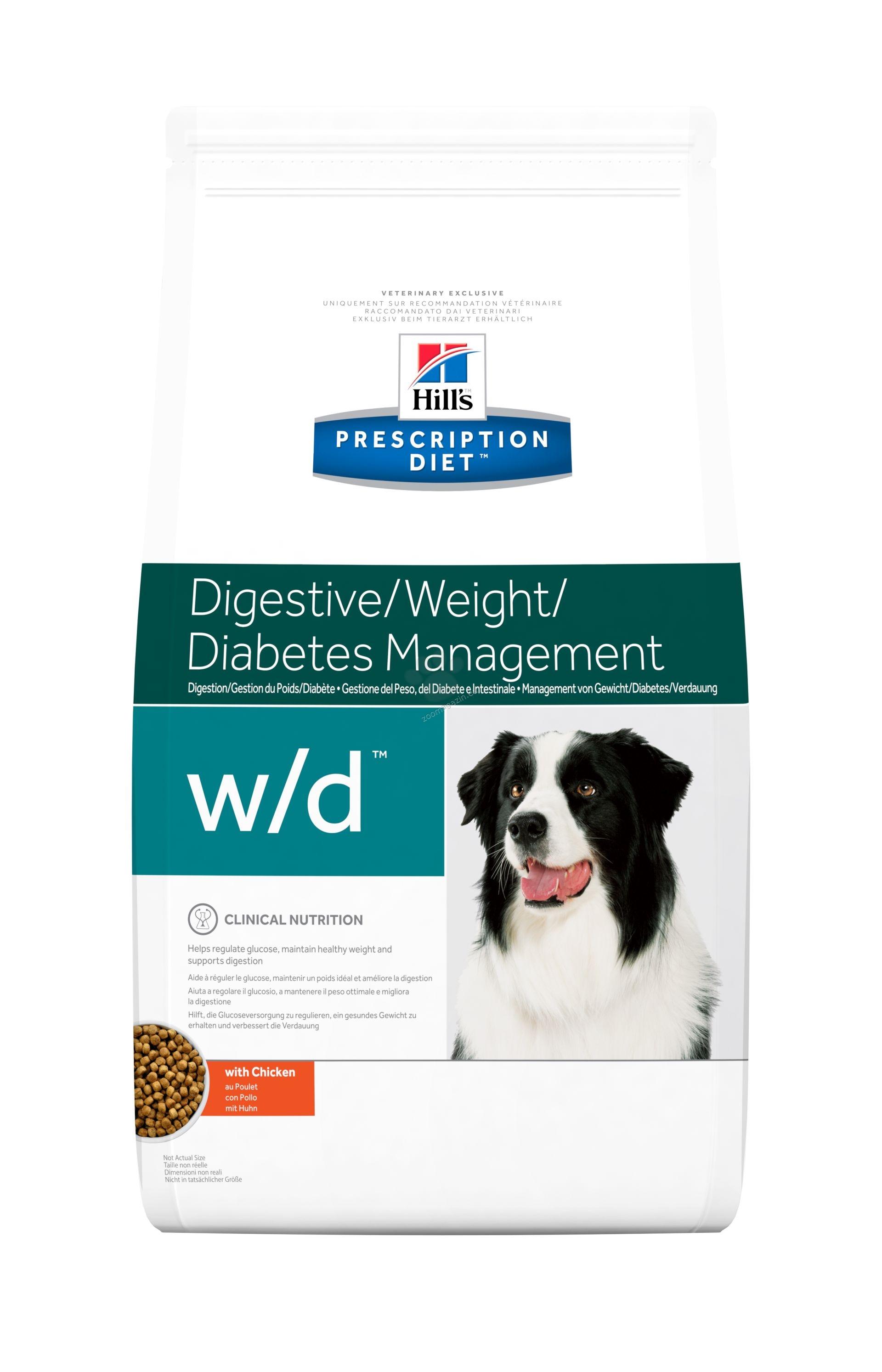 Hills Prescription Diet w/d - диета за кучета със запек, колит и за поддържане на теглото 12 кг.