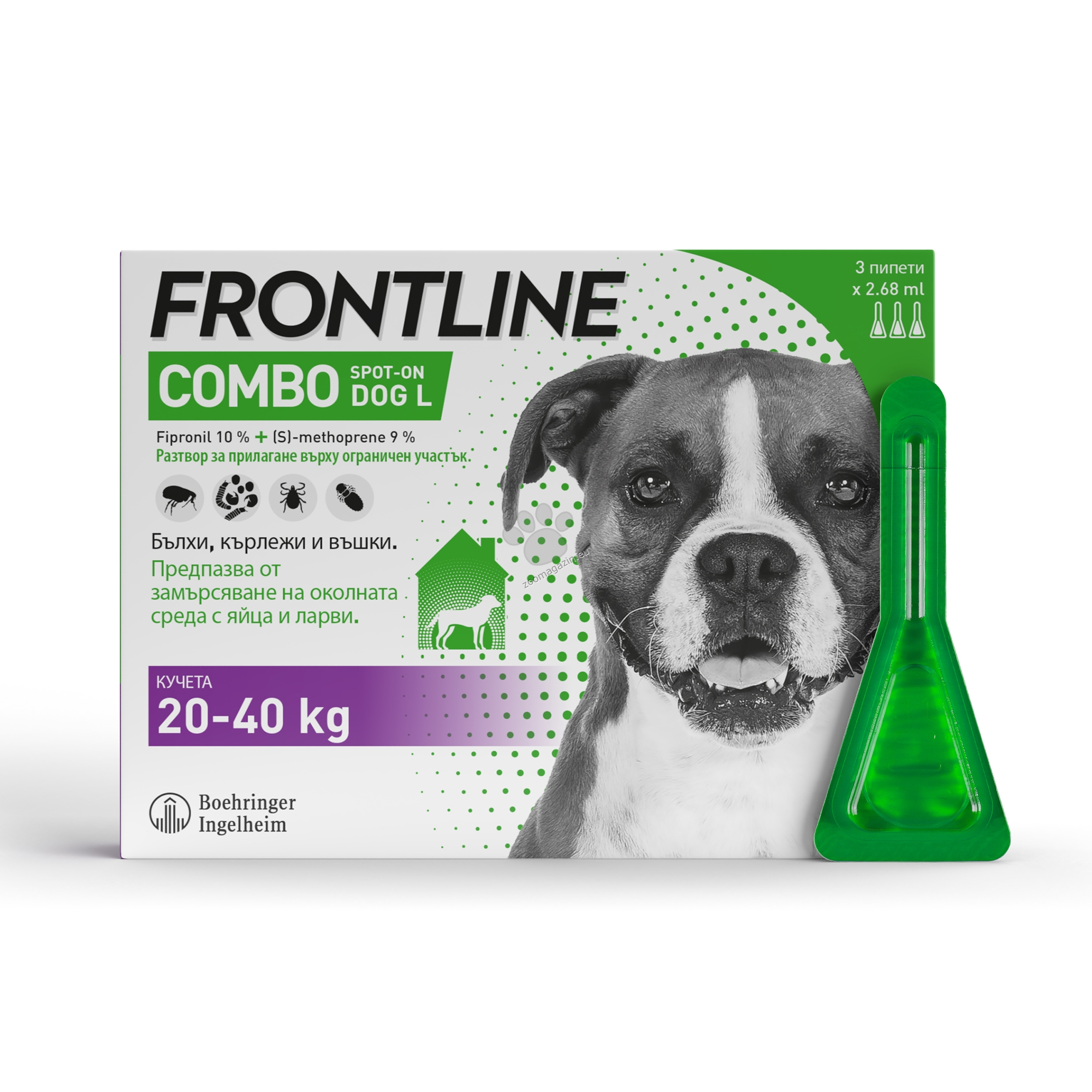 Frontline Combo spot on L - противопаразитни пипети за кучета от 20 до 40 кг. / кутия с 3 броя /