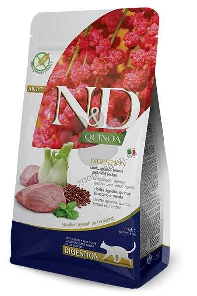 N&D Quinoa Digestion Lamb – пълноценна храна с киноа за котки над една година, с високо смилаема формула за здравето на стомаха с агнешко, копър и мента 1.5 кг. + ПОДАРЪК: 3 броя консерва N&D Cat