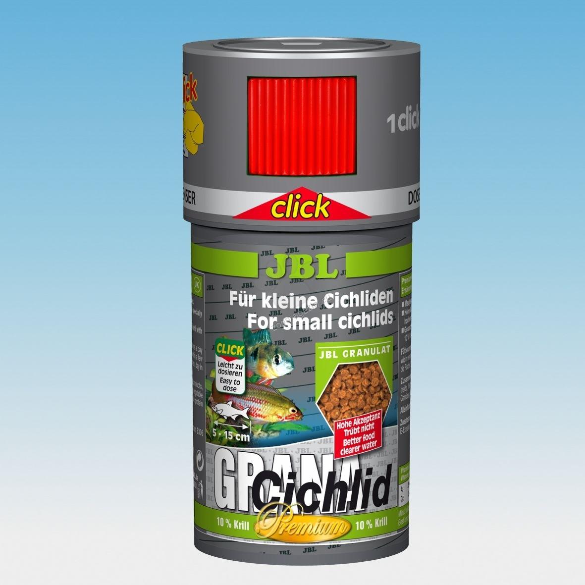 JBL Premium Grana Cichlid click - храна за месоядни цихлиди 250 мл