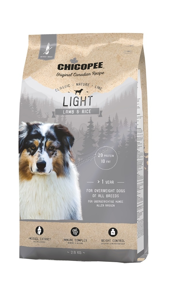 Chicopee Classic Nature Light - за кучета с наднормено тегло с агне и ориз 2 кг.