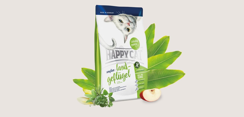 Happy Cat Sensitive Grain Free Poultry - деликатесна храна с пилешко месо, за котки над 12 месеца 1.4 кг.