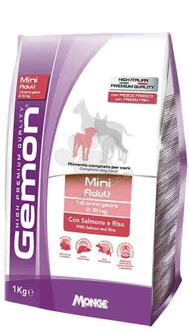 GEMON Mini Adult Salmon & Rice - за кучета в зряла възраст от дребни породи със сьомга и ориз 20 кг. + ПОДАРЪК: 6 броя консерви Gemon Adult Mini chicken & rice 415 гр.