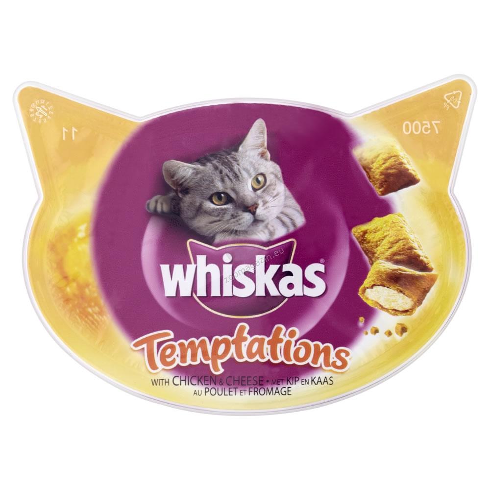 Whiskas Temptations Chicken - деликатесно лакомство с пилешко месо и сирене 60 грама.