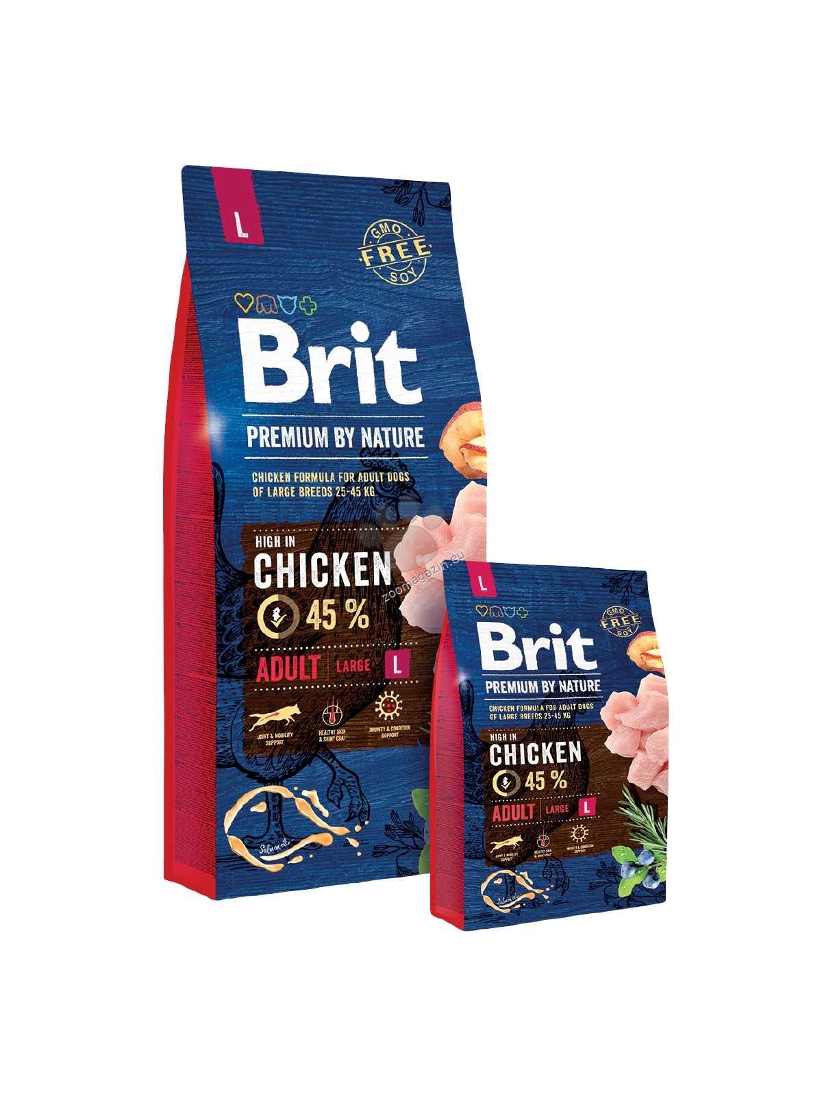 Brit Premium by Nature Adult L - пълноценна храна за кучета големи породи / над 25 кг. / и възраст 2-7 години 15 кг.