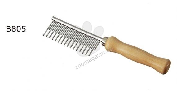 Camon Alternating theeth comb - αντιστατική δυο όψης μεταλλική χτένα με ξύλινη λαβή