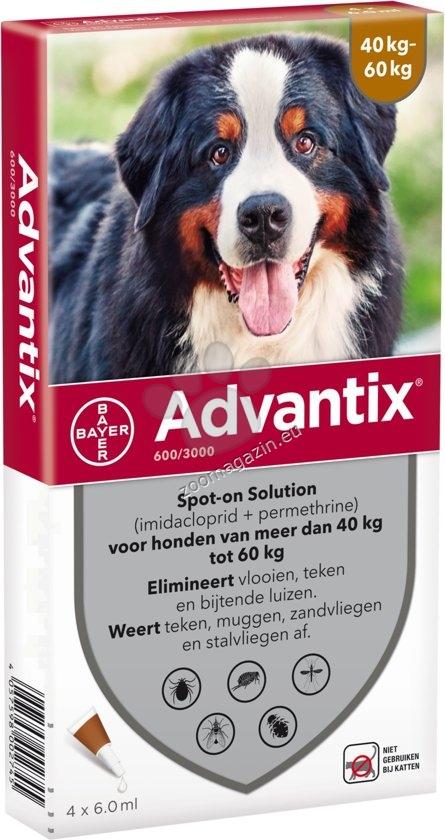 Bayer Advantix Spot On-за кучета от 40 до 60 кг. / кутия с четири броя пипети /