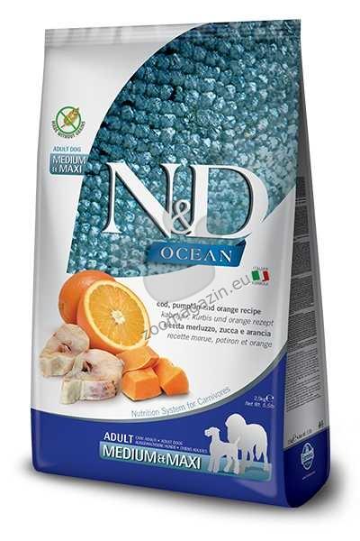 N&D Pumkin Codfish, Pumkin, Orange Medium / Maxi Adult - пълноценна храна с тиква за кучета в зряла възраст една година, от средните и едри породи с месо от риба треска и портокал 2.5 кг.