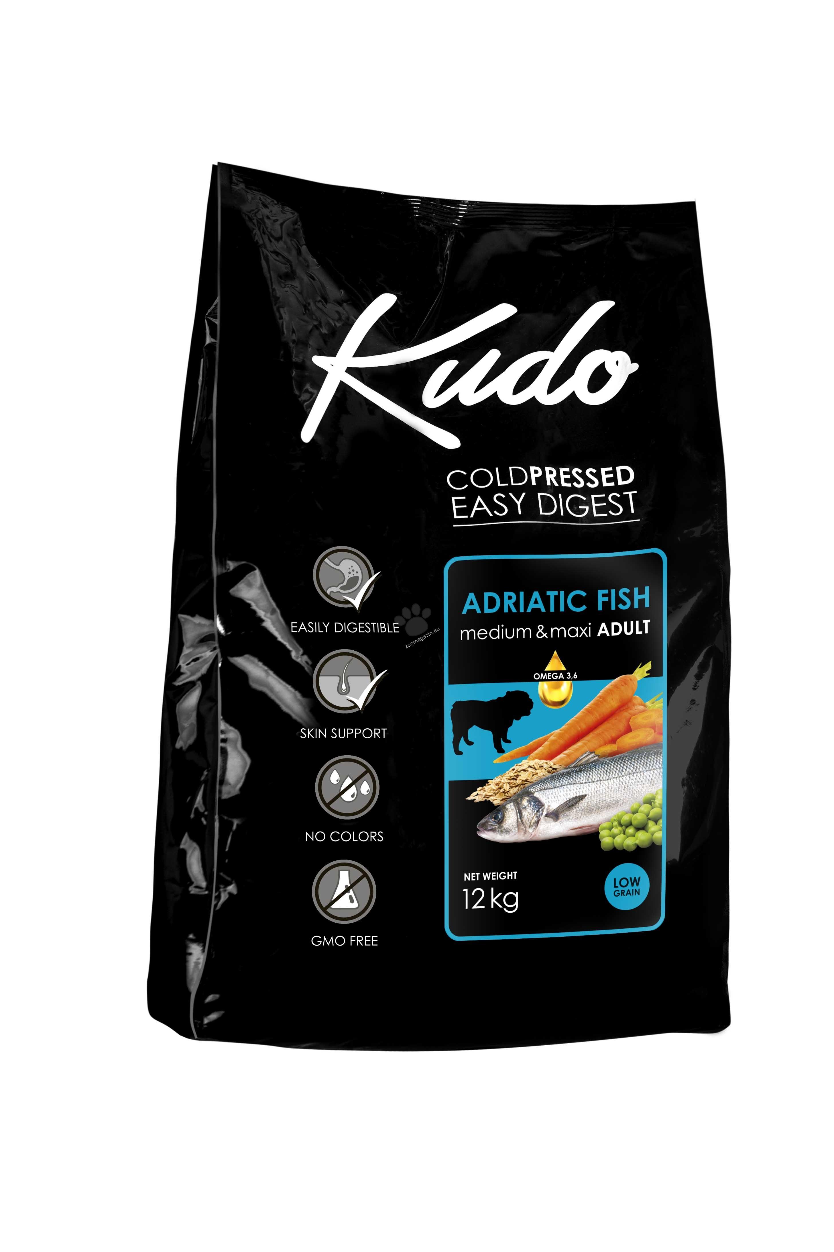 Kudo Low Grain Adriatic Fish Meduim-Maxi Adult - балансирана суха храна за израснали кучета от средни и големи породи над 12 месеца 12 кг.