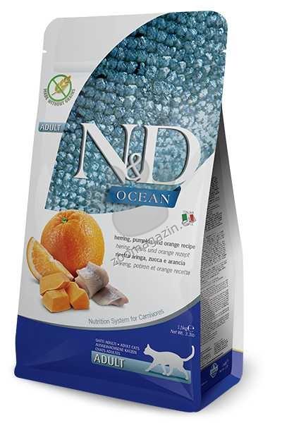 N&D Herring, Pumpkin, Orange Adult – пълноценна храна с тиква за котки над една година, с херинга и портокали 1.5 кг.