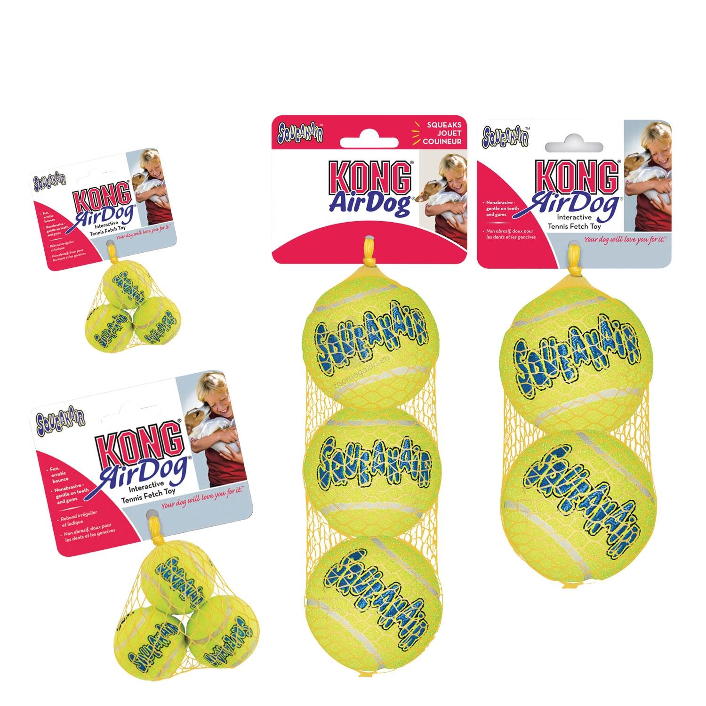 Kong Air Squeaker Tennis Ball S - играчка за кучета във форма на топка за тенис, с вградена пищялка 3 бр.