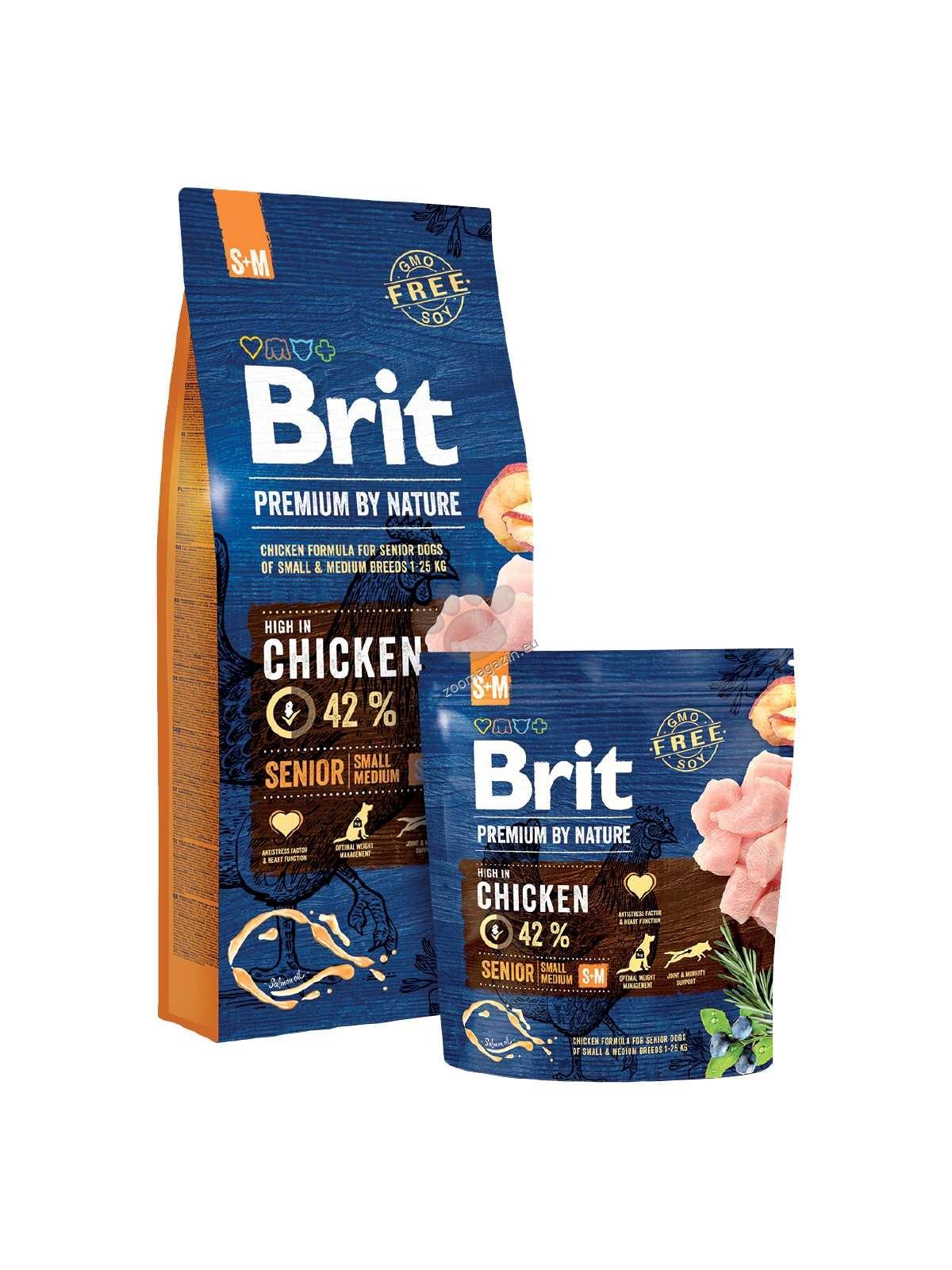Brit Premium by Nature Senior S+M - пълноценна храна за кучета малки / 1-10 кг. / и средни / 10-25 кг. / породи и възраст над 7 години 15 кг.