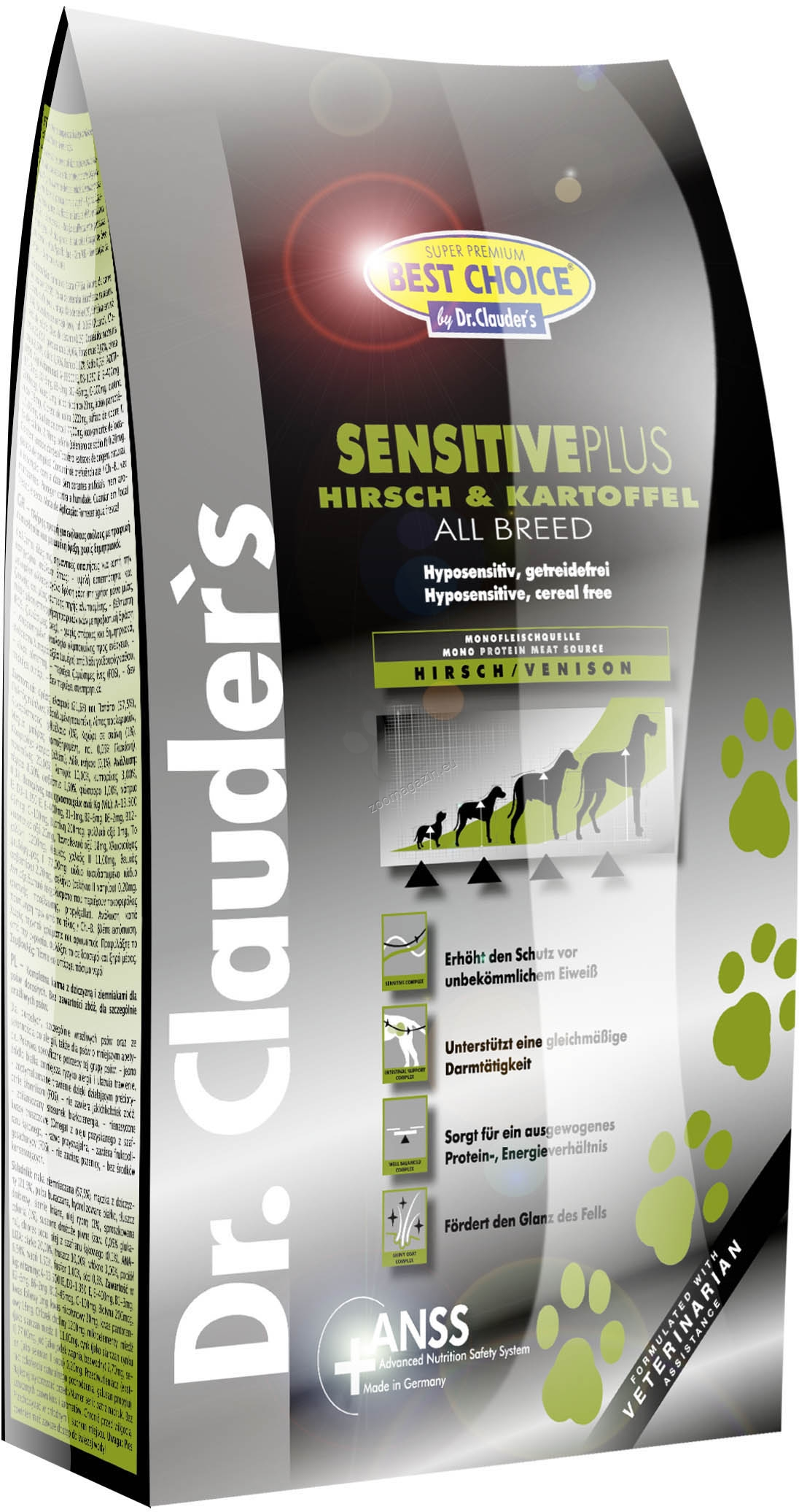 Dr.Clauder Super Premium Hyposensitive All Breed Venison & Potato - с еленско месо и картофи, подходяща за всички породи кучета над 12 месеца 3.5 кг.