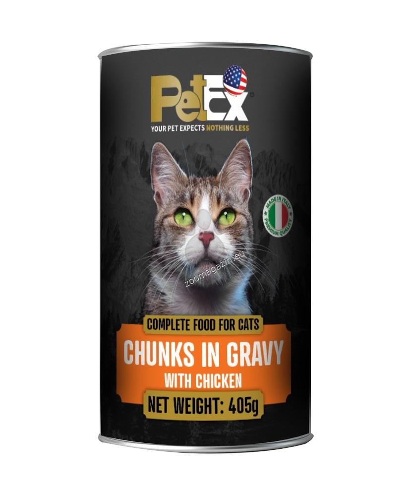 Petex Cat Chunks in gravy With Chicken - с пилешко месо, хапки в сос 405 гр.