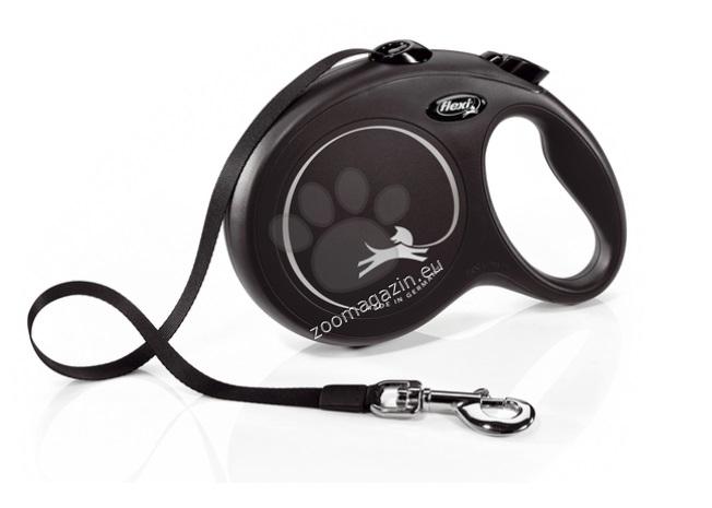 Flexi Classic L - автоматичен повод лента, 5 метра, за кучета с тегло до 50 кг.  / черен /
