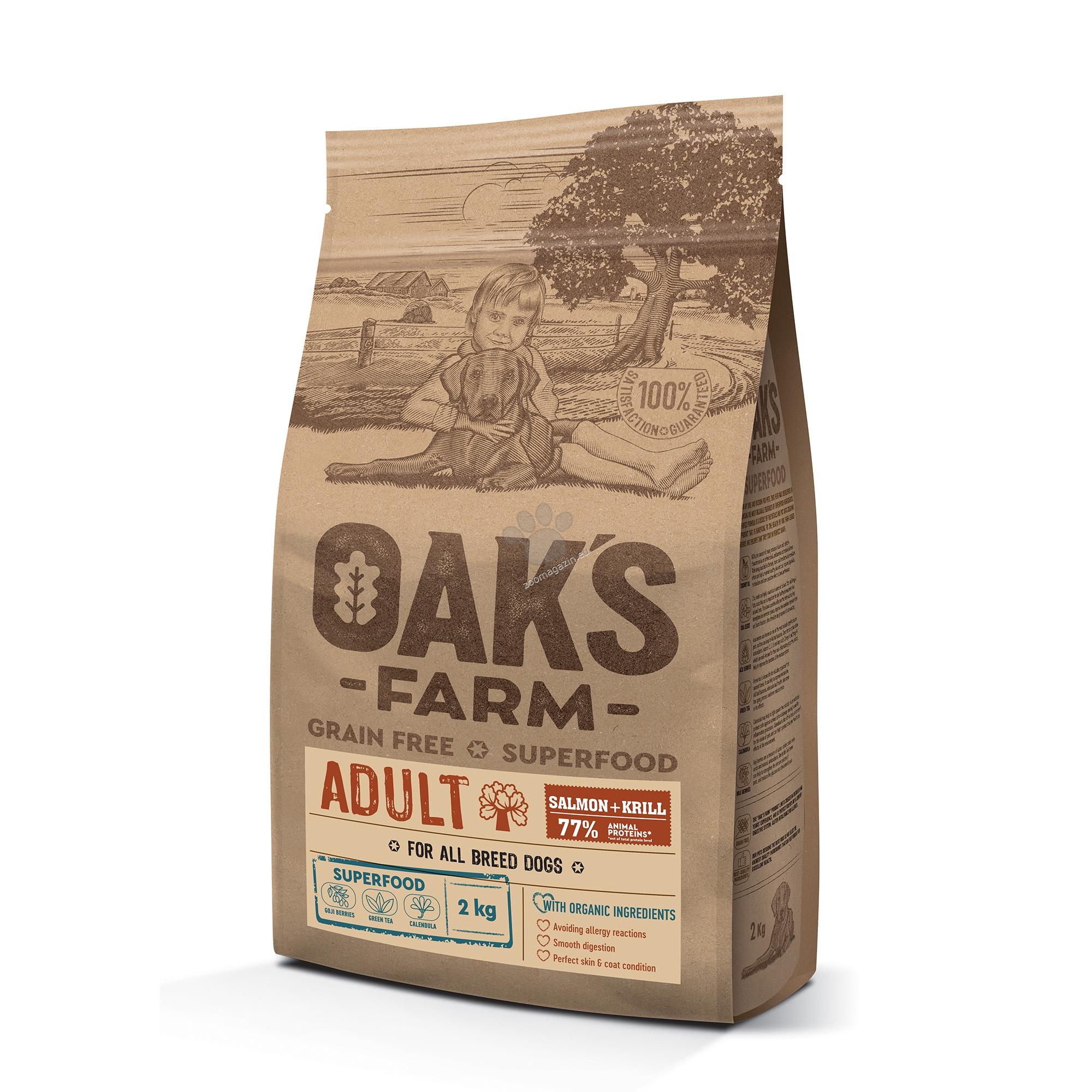 Oaks Farm Adult Salmon with Krill All Breeds - пълноценна храна със сьомга и крил, без зърнени култури за пораснали кучета от всякакви породи 18 кг.