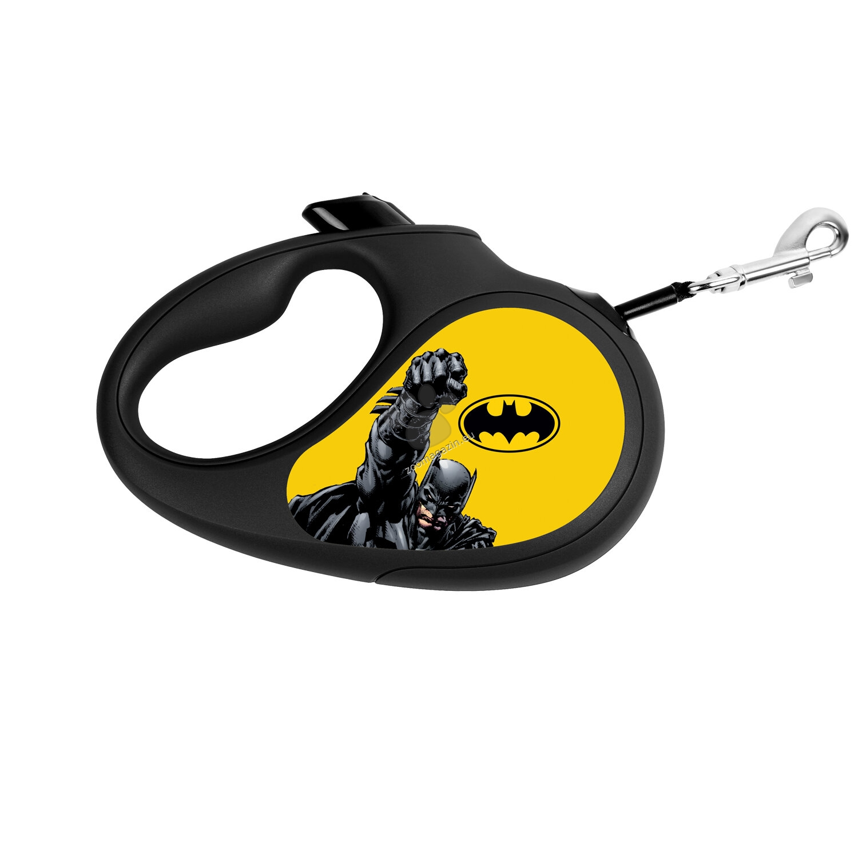 Waudog Batman Yellow M - автоматичен дизайнерски повод 5 метра, за кучета до 25 кг.