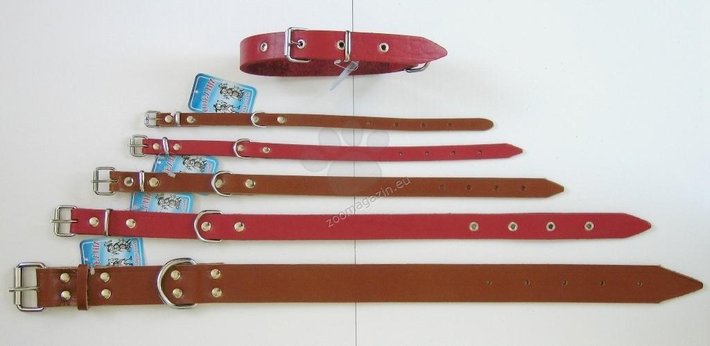 Миазоо Класик - нашийник от естествена кожа, дължина 80 см., широк 4 см. /натурален,черен,червен/
