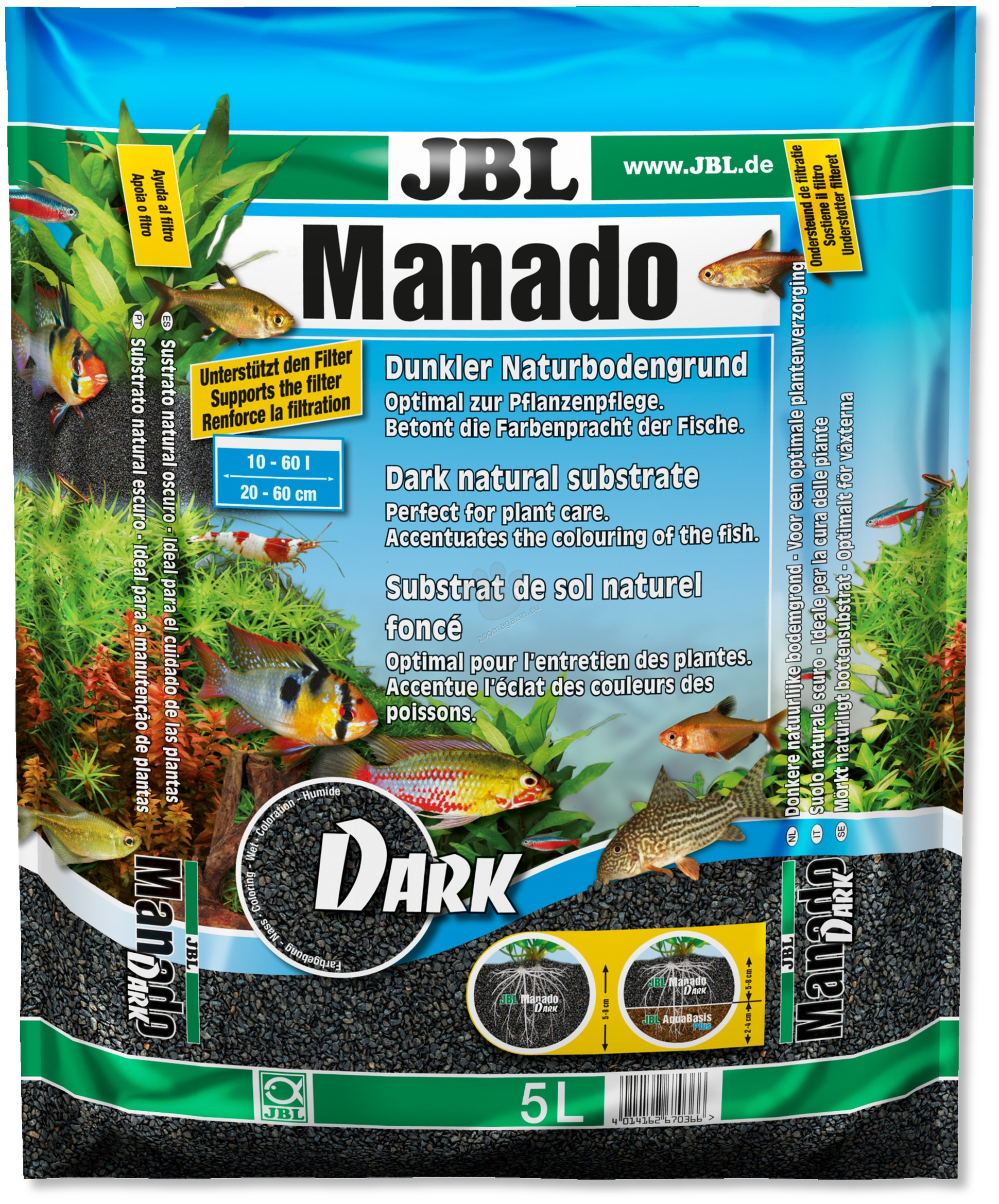 JBL Manado Dark - натурален субстрат за филтрация на водата и подхранване растежа на растенията в аквариума 3 литра