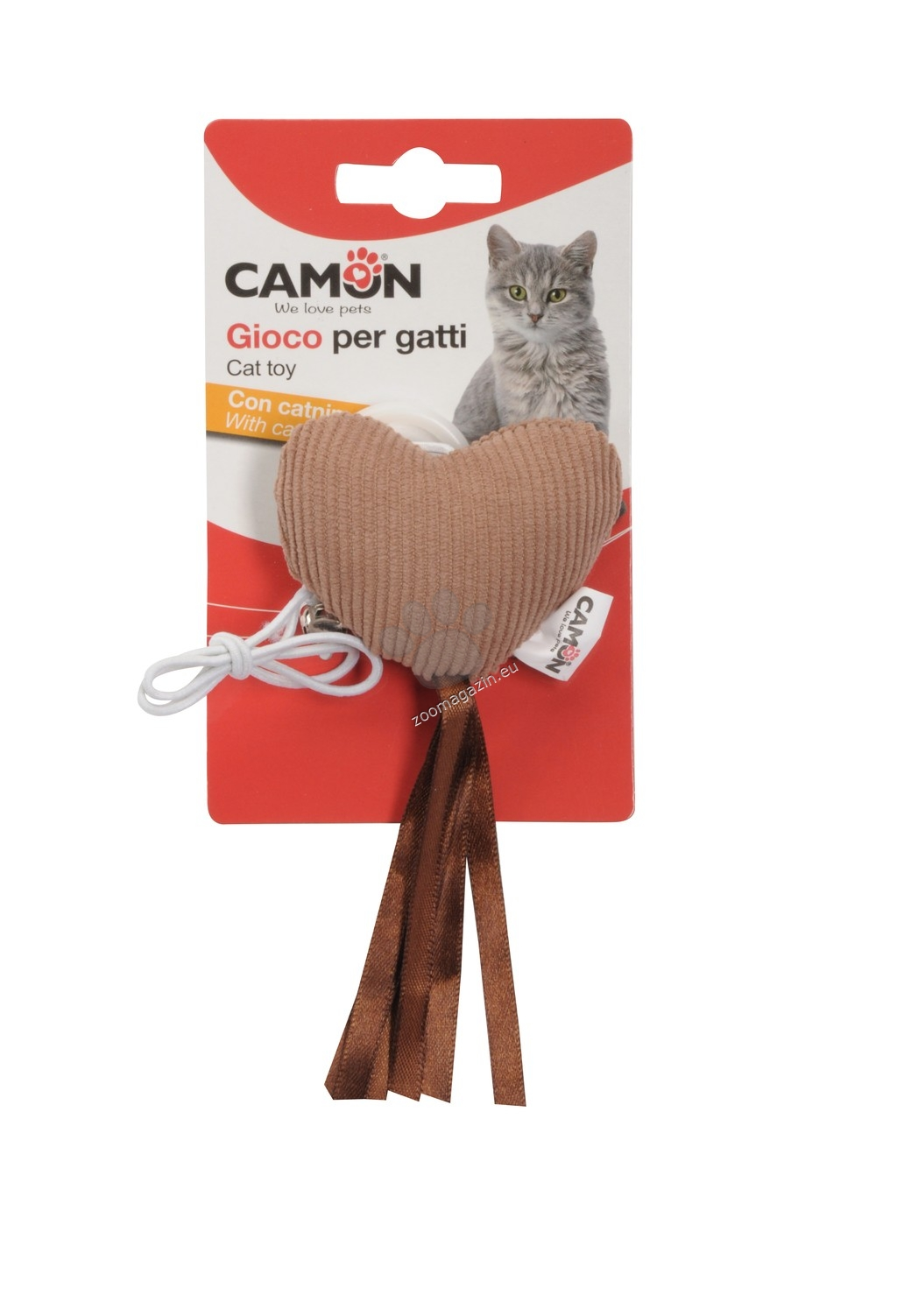 Camon Cat toy - heart with bell and elastic band - котешка играчка