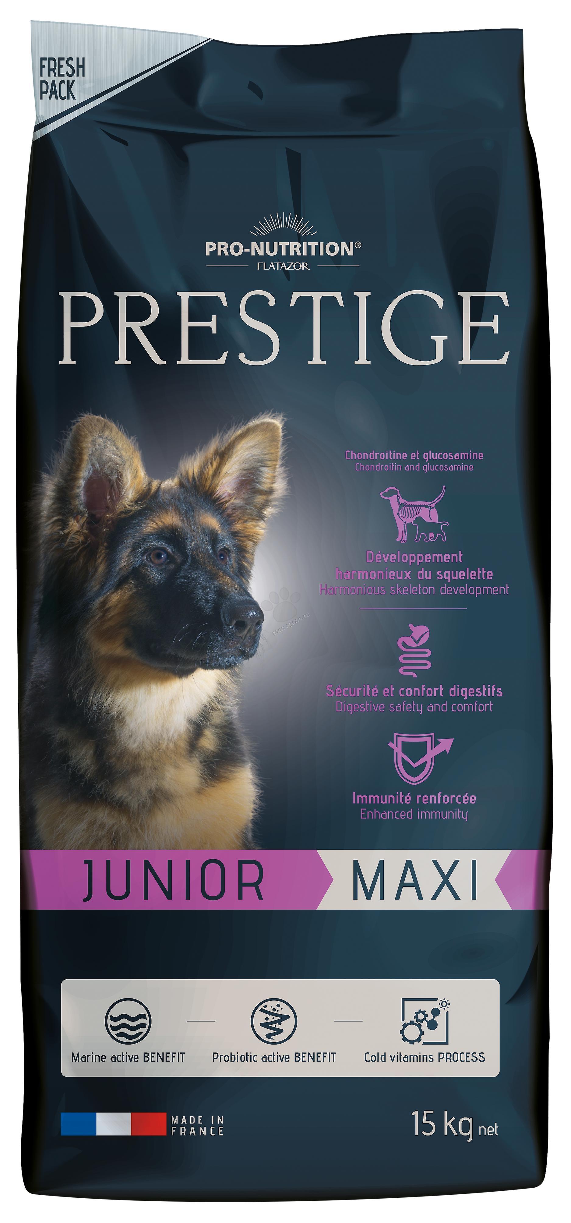 Flatazor Prestige Junior Maxi - пълноценна храна за кучета едри и гигантски породи от 2 до 18 месеца 15 кг.
