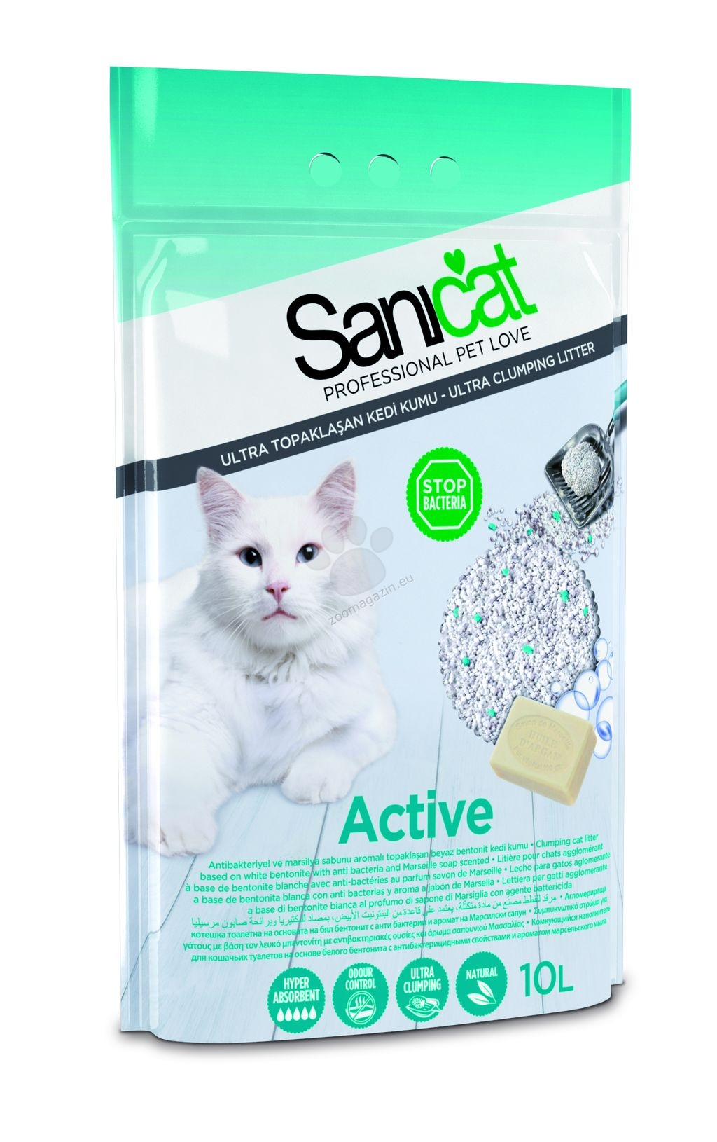 Sanicat Active - антибактериална бентонитова котешка тоалетна с активен кислород, 10 литра