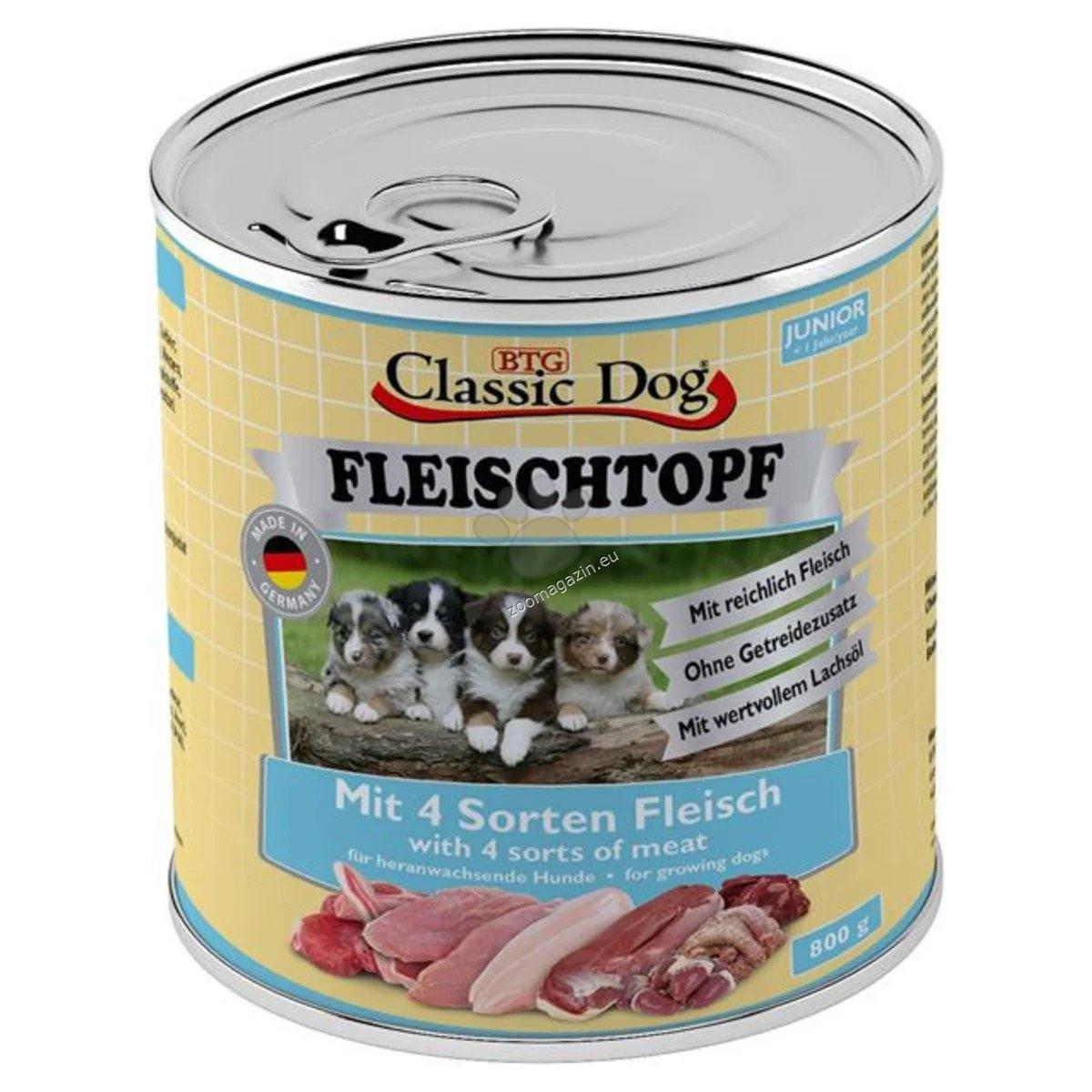Classic Dog FLEISCHTOPF Junior - 4 вида месо / пиле, патица, пуйка и агне / 800 гр.