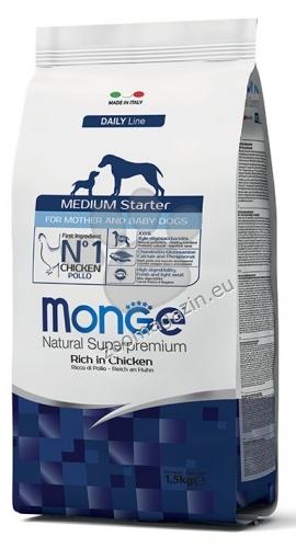 MONGE MEDIUM STARTER – за бременни и кърмещи кучета и кученца по време на отбиването от средни и едри породи 15 кг. + ПОДАРЪК: 6 броя консерви Gemon Junior 415 гр.