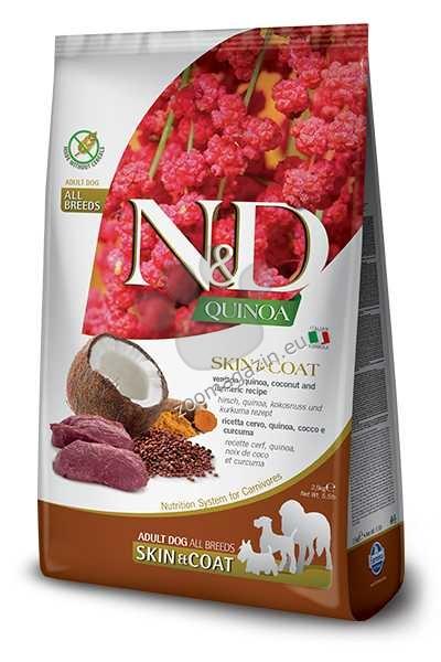 N&D Quinoa Skin & Coat Venison, Coconut – пълноценна храна с киноа за кучета в зряла възраст над 1г. за всички породи при чувствителен стомах, здрава кожа и козина с еленово месо, кокос и куркума 2.5 кг.