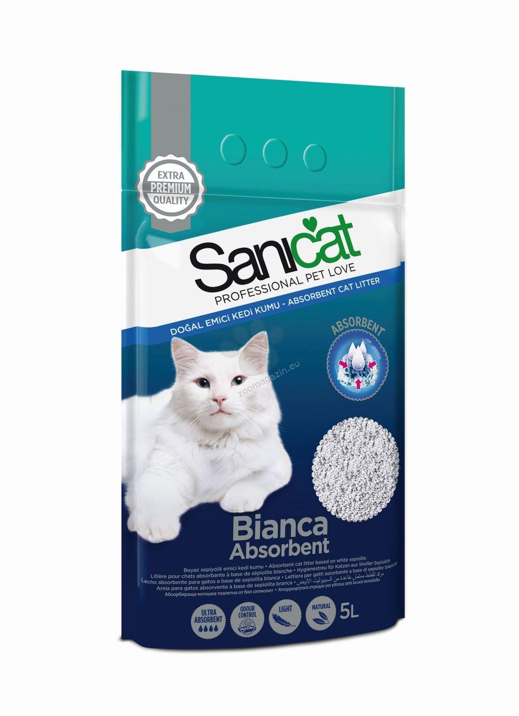 Sanicat Bianca - 100% висококачествен бял бентонит, котешка тоалетна с отличен контрол на миризмите и силна абсорбция, 5 литра