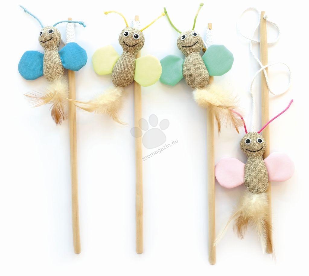 M-Pets BUTTERFLY Cat Wand - Fluorescent fabric - играчка въдица флуоресциращи 35 см.