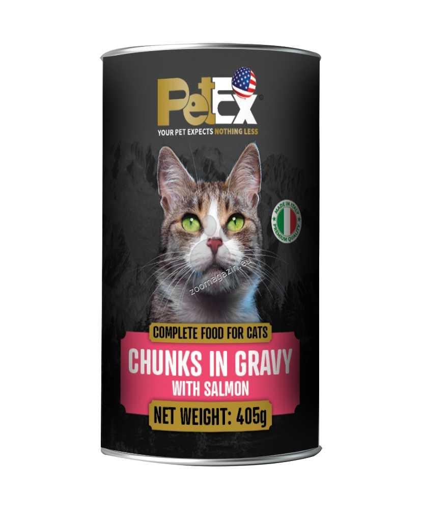 Petex Cat  Chunks in gravy With Salmon - с месо от сьомга, хапки в сос 405 гр.