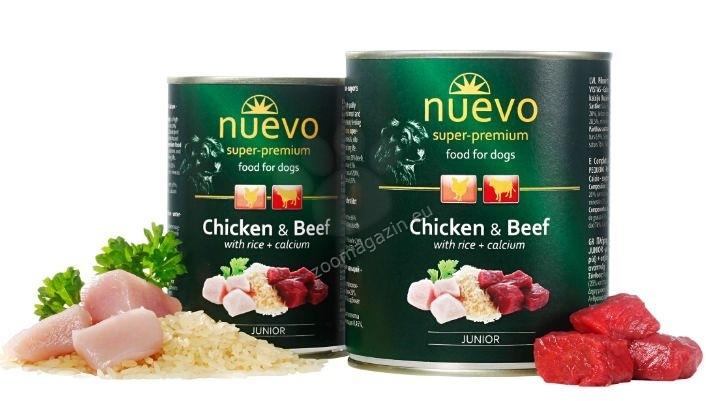Nuevo Dog Junior Chicken and Beef - с пилешко месо, говеждо месо, за кучета от 1 до 12 месеца 800 гр.