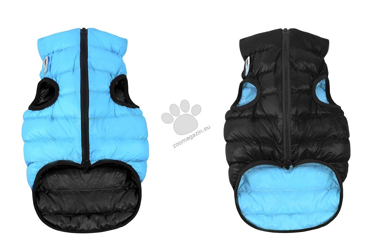 Reversible dog jacket AiryVest, black - blue, size S35 - двустранно олекотено кучешко яке, за кучета с дължина на гърба 32 - 35 см.