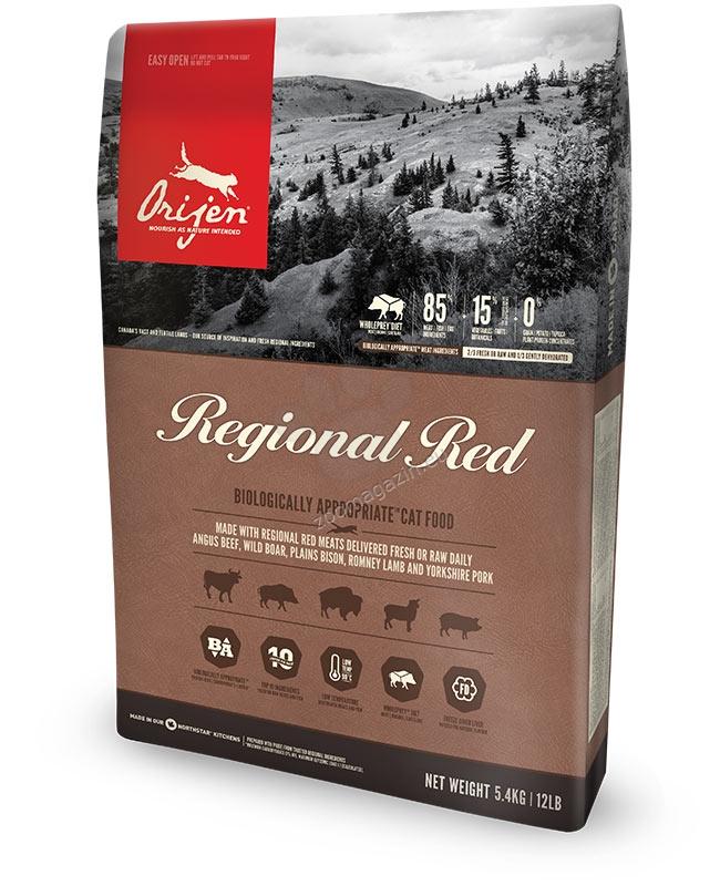 Orijen Regional Red - съдържа много прясно, червено месо от бизони, глиган, агнета и други 5.4 кг.