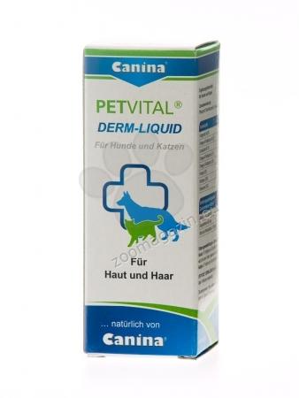 Canina Petvital Derm-Liquid - хранителна добавка за метаболитни, хормонални и алергични проблеми, свързани с кожни проблеми, 25 мл