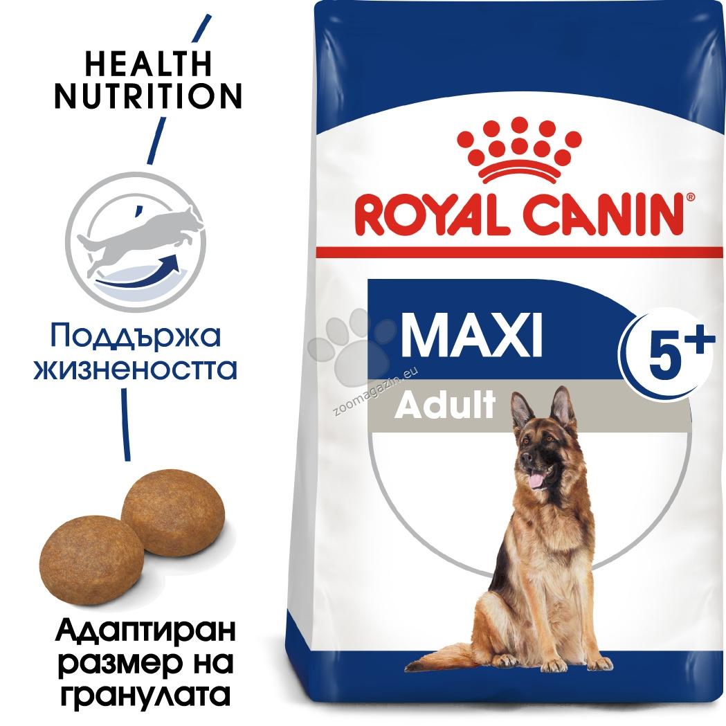 Royal Canin Maxi Adult 5+ - за кучета в зряла възраст, показващи първите признаци на стареене, от едрите породи тегло в зряла възраст от 26 до 44 кг., над 5 години 15 кг.
