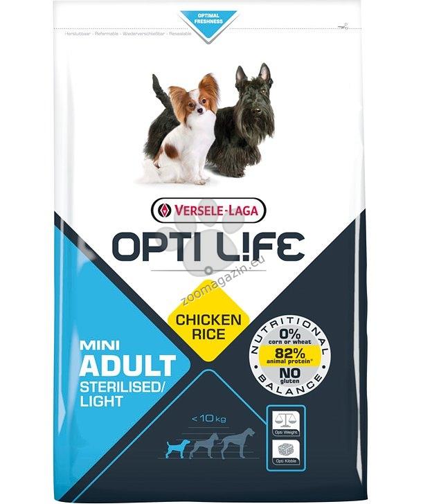 Opti Life Adult Sterilised/Light Mini - Балансирана олекотена храна с пиле за малки породи кастрирани кучета 7.5 кг.