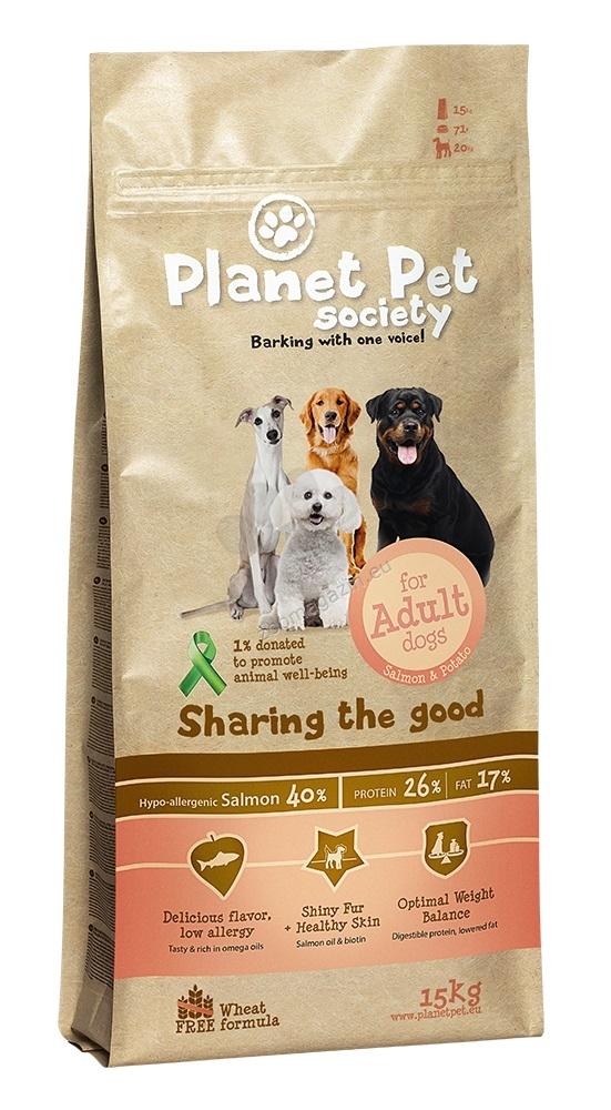 Planet Pet Society Salmon & Potato - пълноценна храна със сьомга и картофи, подходяща за всички породи 15 кг.