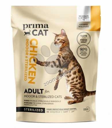 PrimaCat Chicken cat food for sterilized adult indoor cats - пълноценна храна с пилешко месо, за кастрирани котки живеещи на закрито 400 гр.