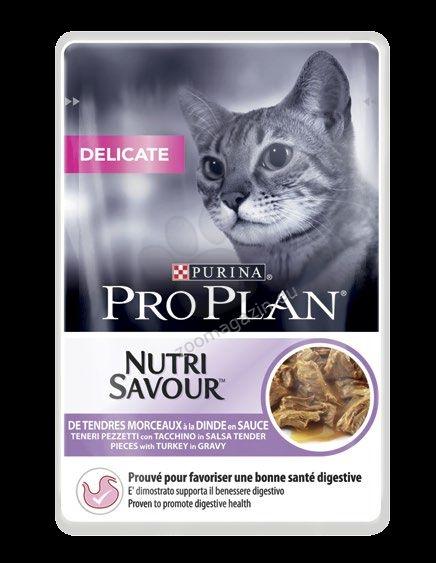 Pro Plan Nutri Savuor Delicate - / с пуйка в сос / за котки с чувствително храносмилане и чувствителна кожа 85 грама